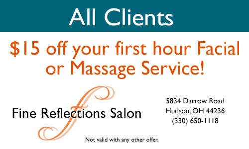 All Clients Save 15 off your first Hour Facial or Massage Service!